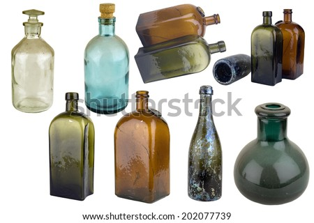 Antiquarian glass bottle for liquid products. It was used the last centuries