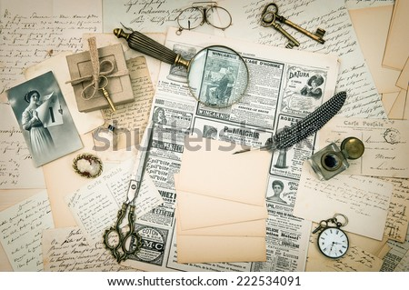 antique accessories, vintage fashion magazine, old letters and postcards. retro style nostalgic background - stock photo