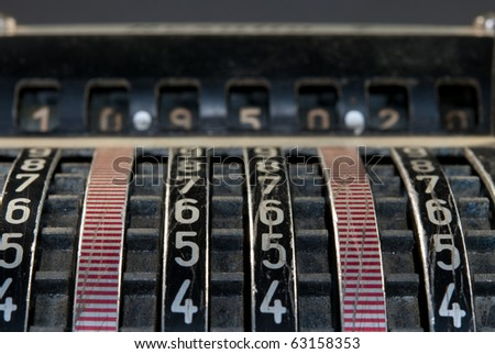 antique adding machine - stock photo