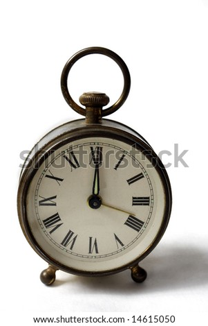 Antique Alarm Clock on White Background - stock photo