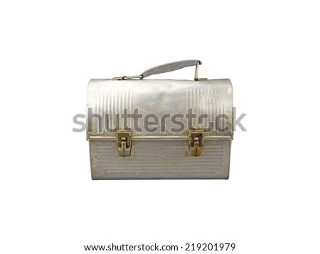 Antique aluminum lunch box isolated on white. - stock photo