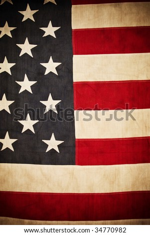 Antique American Flag Background - stock photo