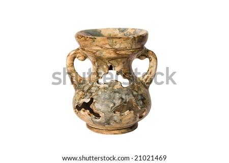 Antique amphora on a white background - stock photo