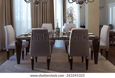 Antique and art deco dining room. 3D render - stock photo