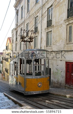 antique and typical Bica elevator tram in the capital of Portugal, Lisbon - stock photo