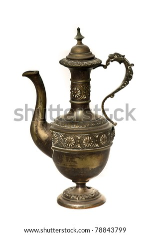 Antique arabic grail isolated on white - Ancient metal jar macro shoot - stock photo