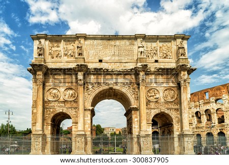 Antique arch of Constantine near Coliseum, Rome, Italy - stock photo