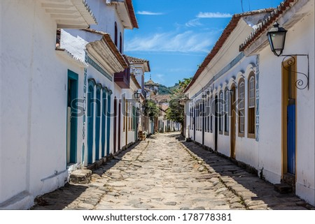 Antique architecture and street in the city of Paraty - Rio de Janeiro - Brazil - stock photo