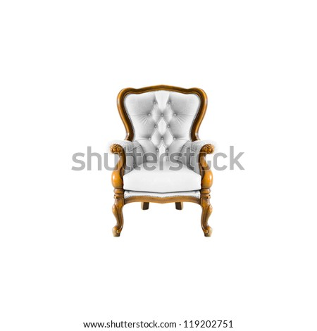antique arm chair with clipping path on white background - stock photo