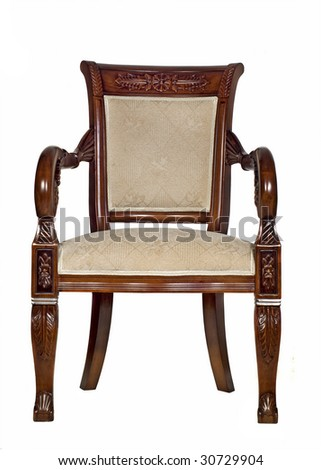 Antique armchair front view (Isolated)