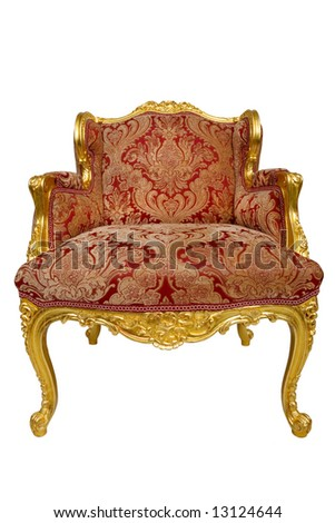 Antique armchair,isolated on white - stock photo