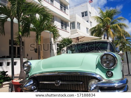 Antique automobile on ocean drive, Art Deco area of South Beach Florida