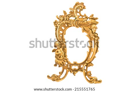 Antique baroque brass frame isolated on white - stock photo