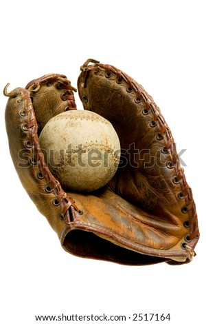 Antique baseball glove with ball