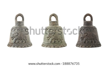 Antique bell isolated on white background - stock photo