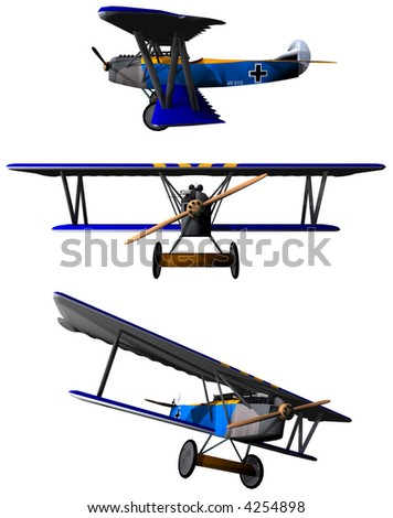 Antique bi-Plane called a Folkker - stock photo