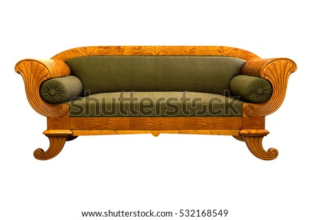 "Antique  ""Biedermeier style"" sofa isolated with authentic fabric and woor carving"