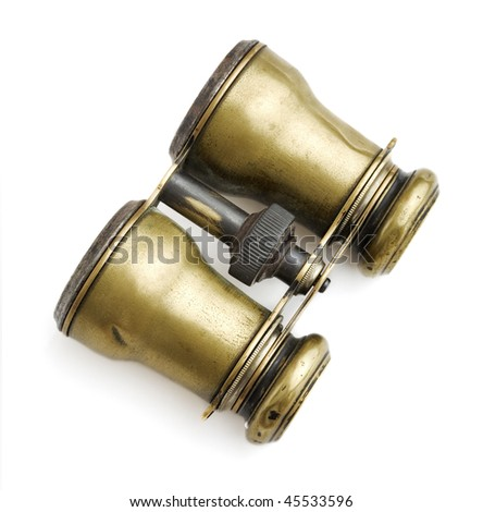 Antique binoculars on white background - stock photo