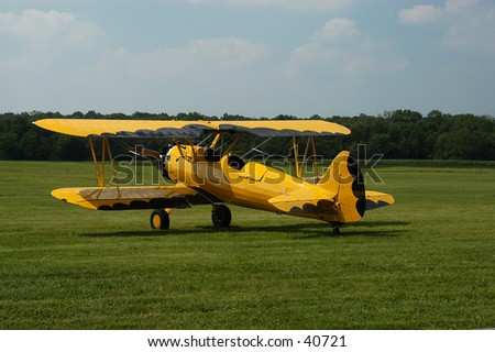 Antique biplane circa 1939-40,  Currently flying in the Bealton, Virgina Flying Circus Air Show. - stock photo