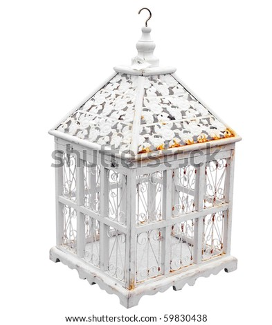 Antique Birdcage isolated with clipping path - stock photo