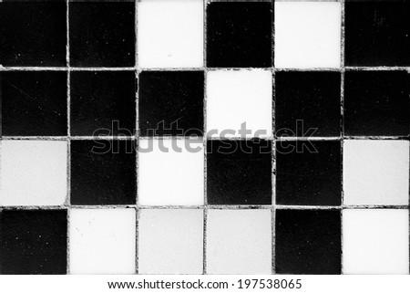 Antique black and white ceramic tiles. Horizontal format - stock photo