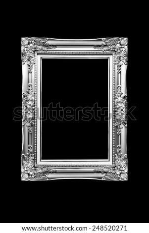 antique black and white frame isolated on black background - stock photo