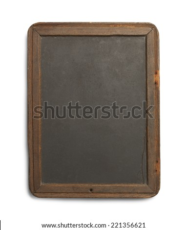 Antique Black Board with Slate and Worn Sides Isolated on White Background. - stock photo