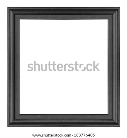 Antique black  frame isolated on white background - stock photo