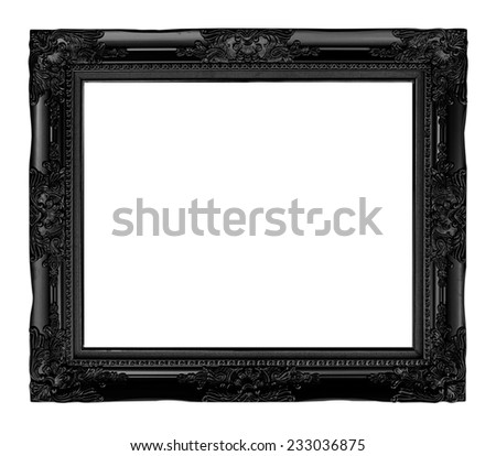 antique black  frame isolated on white background, clipping path. - stock photo