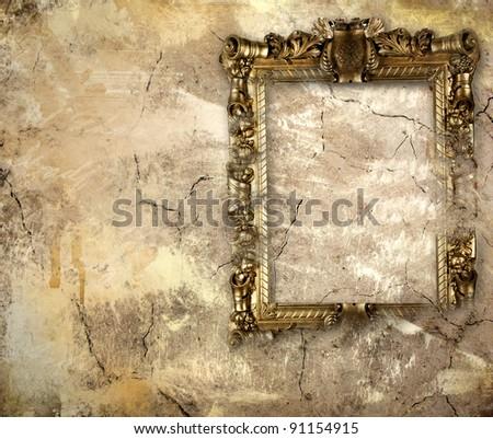 antique blank frame over grunge background - stock photo