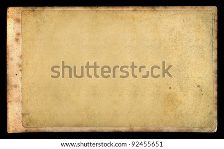 Antique blank photograph on vintage paper. Victorian era retro cabinet card design element. - stock photo