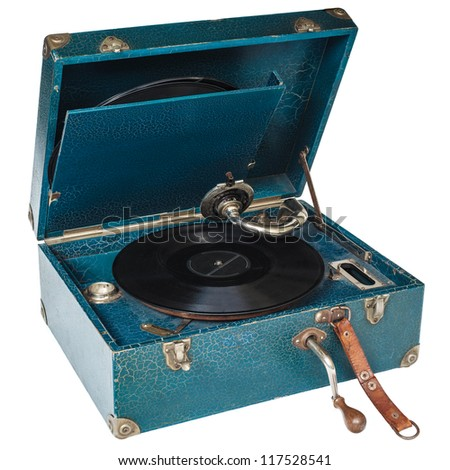 Antique blue boxed turntable isolated on a white background - stock photo