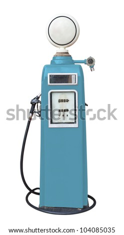 Antique blue gas pump on white with clipping path - stock photo