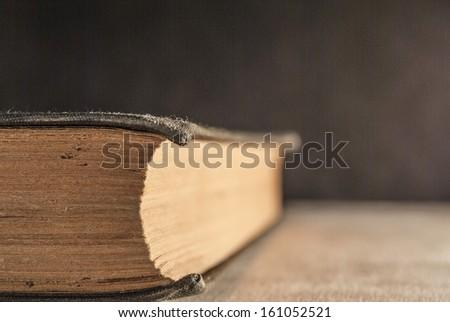 Antique book close up - stock photo