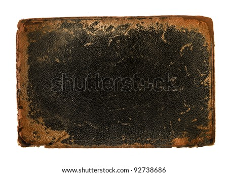 Antique book cover leather with rough worn edges - stock photo