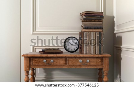 Antique Books and Clock on Old Wooden Table in Modern Home with White Walls and Decorative Moulding and Copy Space. 3d Rendering. - stock photo