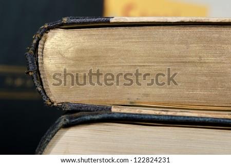 antique books, gilded cut - stock photo