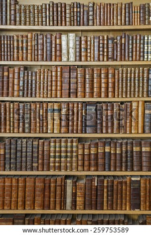 Antique books stacked on shelves - stock photo