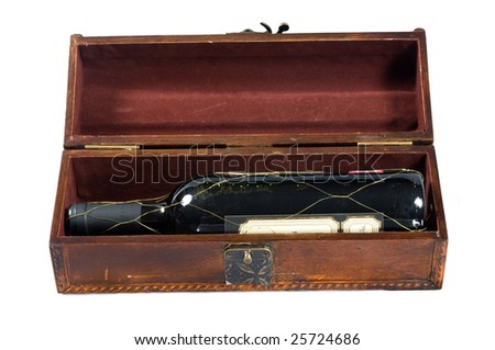Antique box for wine isolated on a white - stock photo