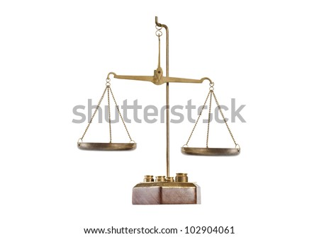 Antique brass balance scale on pedestal with empty pans and weights isolated on white included clipping path. - stock photo