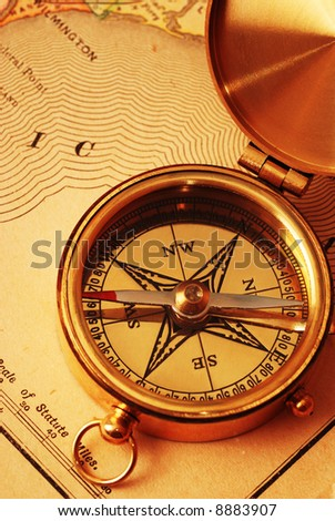 Old Vintage Compass Travel Instruments On Stock Photo - Old us map background