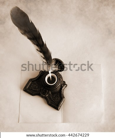 Antique brass inkwell with feather and blank paper card - Sepia toned artwork in retro style - stock photo