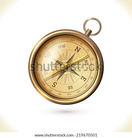 Antique brass metal  compass isolated on white background  illustration - stock photo
