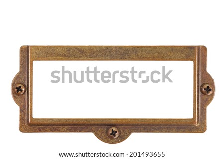 Antique brass name plate - stock photo