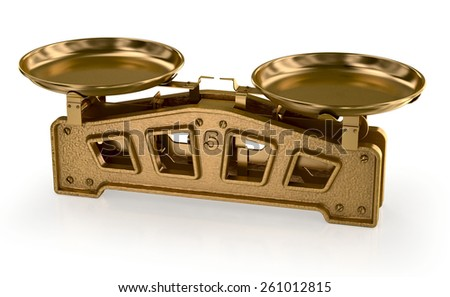 Antique brass scales - stock photo
