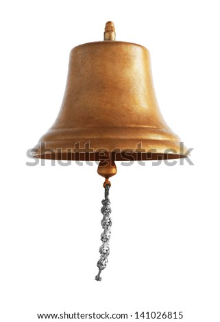 Antique brass ship's bell with a rope on a white background - stock photo