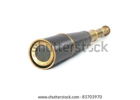 Antique brass telescope Isolated - stock photo