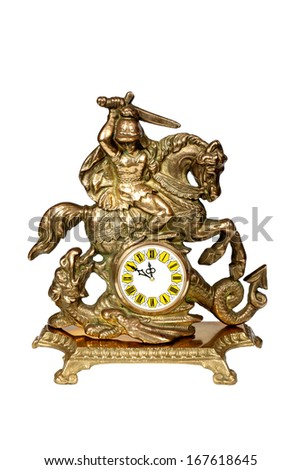 Antique bronze clock, minutes to twelve. Isolated over white with clipping path.