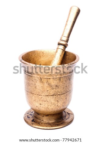 Antique bronze mortar on white background - stock photo