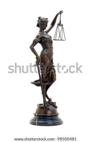 antique bronze statuette of the goddess Themis. Isolated image. - stock photo